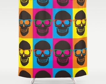 Skulls Desing Shower Curtain, Colorfull Skulls, Colorfull Desing Urban Art,  Geek Bathroom,