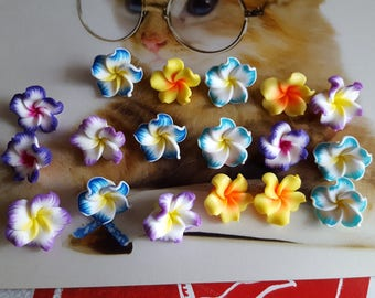 lot 18 charms fimo polymer clay flower beads