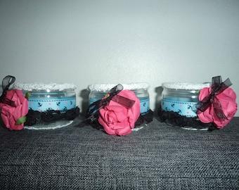 set of 3 candles on a sea flower, Valentine decoration idea