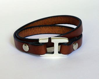 Leather bracelet for men handmade brown leather with H hook clasp