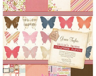 "Set of 30 sheets ""Romantic garden"" 30 X 30 cm (ref.110) scrap papers theme *."