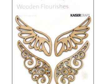 Set of 2 large cut wings Kaisercraft scrapbooking card making *.