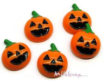 Set of 5 pumpkin Halloween resin embellishments scrapbooking card making (ref.410) *.