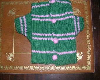 Coat with sleeves for small dog wool green and pink