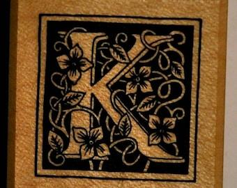 Wood stamp - letter K