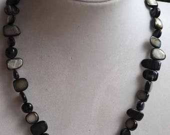 Simple necklace, mother of Pearl, black, gray, crew neck, 42cm, mother of Pearl irregular rectangle 6-12mm