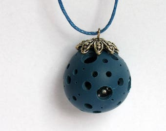 Polymer clay necklace, ball holes with bells, long necklace, polymer clay, polymer, bola style