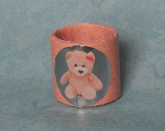 Napkin, place cards, Teddy bear pink on salmon background