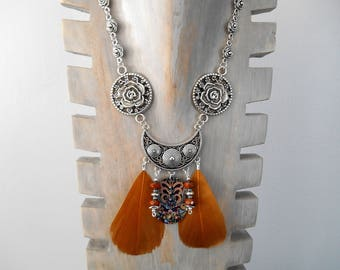 silver necklace ethnic Bohemian feathers