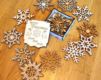 Christmas gifts for friends Christmas ornament Wood christmas decorations Snowflake ornaments Christmas tree decorations Set of 6 ets