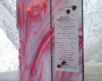 Stained Glass Wedding Invitation Keepsake Frame ~ Card Style Frame for Thin Invitations ~ Custom Made to Your Orders
