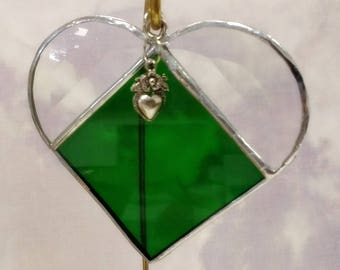 Stained Glass, MAY Birthstone, Birthstone Heart, Emerald, Deep Green, Heart, Stained Glass Suncatcher, Handmade in USA
