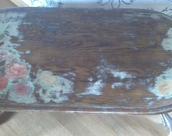 Nice Hand Painted Table Coffee Table Size Oak