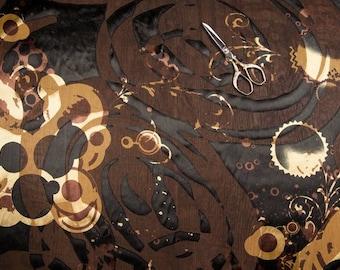 Fabric chiffon devoured printed black and gold