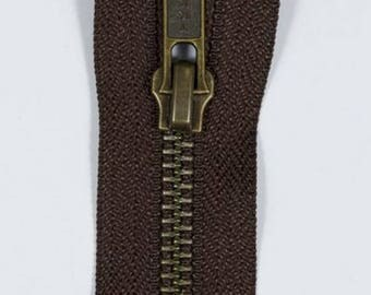 Zip up Brown 70 cm separable YKK brass metal
