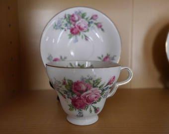 2 Clare China Co. England - Bone China Tea Cups and Saucers