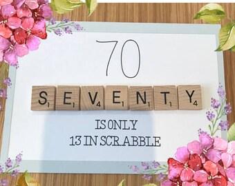 70th Scrabble Birthday Card