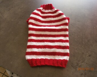 Red and white striped dog coat