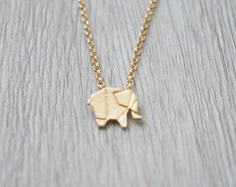 So origami - gold Elephant pendant necklace