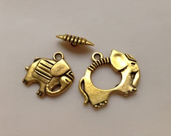 lot 2 metal elephant color toggle clasps gold