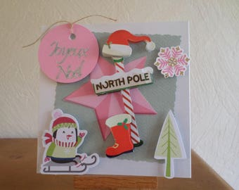 """""""Merry Christmas"""" card with pinguoin and tree"""