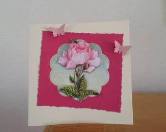 card for any occasion with rose in 3D and butterflies