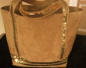 tote bag has glitter, sequins, sequin