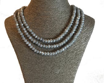 Grey Necklace, Statement Necklace, Glass Necklace, Triple Strand Necklace, Grey Glass Necklace, Bridal Jewellery, Bridal Necklace