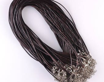 2 coffee color 2 mm - 45 cm leather cord lanyard