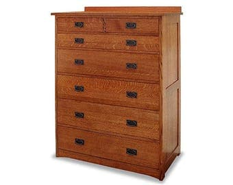 Classic Stickley Style Mission Oak 7 Drawer Chest