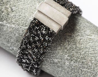 Silver knitted bracelet ,,Thin""