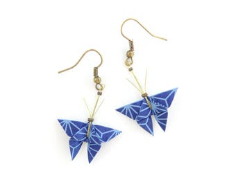 Jewelry origami butterflies Japanese paper and brass earrings