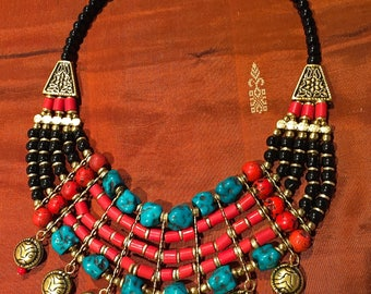 Ethnic multi strand necklace