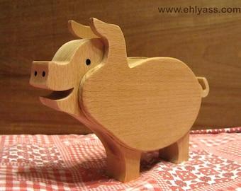 Piggy bank pig wood blank solid beech