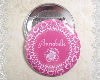 """CUSTOMIZABLE badge pin 56 mm """"Rose flower"""" with Word of your choice"""