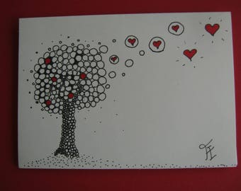India ink, the tree of love card