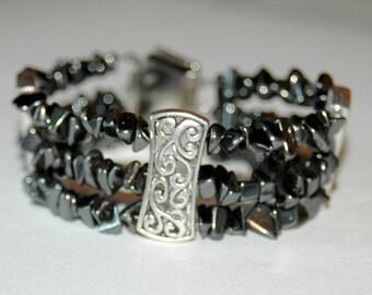 Hematite and Metal Cuff Bracelet