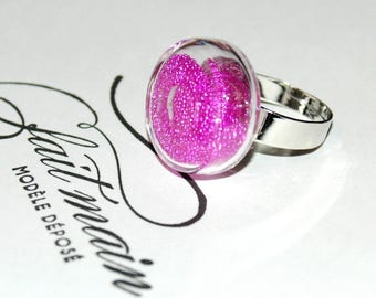 Bubble glass ring - Pearlescent Inclusion fuchsia pink