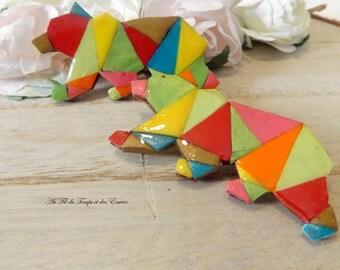 Brooch origami : Big bear multicolor