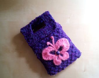 Wall Pocket case for smartphone mobile phone charger-custody-case phone to crochet