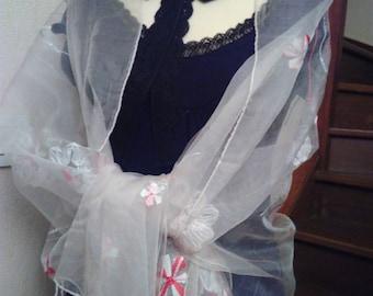 White embroidered silk organza shawl