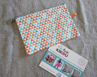 White cotton geometric triangles zippered pouch