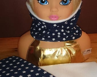SNOOD collar Reversible Blue Navy with white stars and white fleece