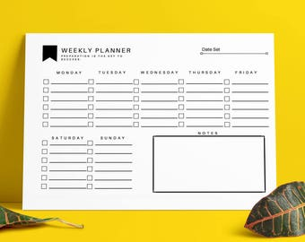 Weekly Planner Printable 7 Day PDF Editable fillable Organiser A4+US Letter Sizes Available Instant Download | Motivational Quote.