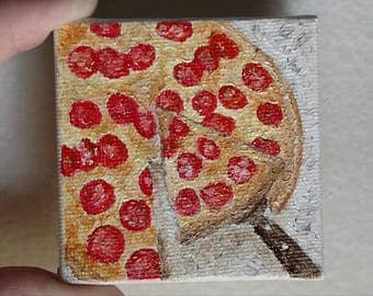 Pepperoni pizza original hand painted oil painting portrait food party cheese