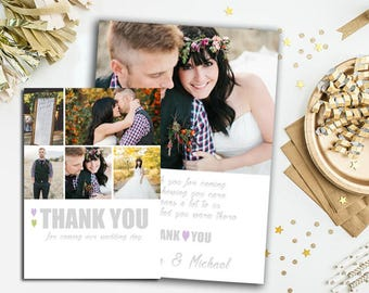INSTANT DOWNLOAD-Wedding thank you template, photoshop template wedding, wedding than kyou, wedding thanks card, wedding Thank you template