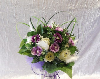 Ivory, Eggplant and white bridal bouquet