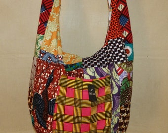 Shoulder Ref: SbL-214 geometric green African wax fabric with zip closure and 3 pockets