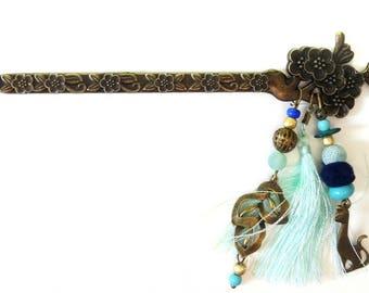 "ORIGINAL hair has ¨PIQUE""bronze, blue and gold. Asian ""Bohemian"" style"