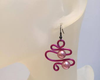 Pink aluminum wire and 2 rose-abstract earrings